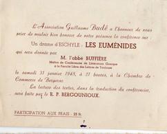 Bergerac (24 Dordogne ) Nvitation Nconférence De L'abbé BUFFIERE  Sur LES EUMENIDES D'ESCHYLE (PPP16800) - Programs