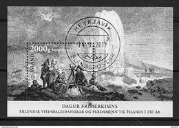 Islande 2017, Bloc Oblitéré Journée Du Timbre, Expéditions Scientifiques Et Tourisme - Blocs-feuillets