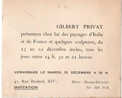Paris 14e / Rue Boulard: Invitation Au Vernissage GILBERT PRIVAT (peintre) (PPP16801) - Programs