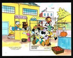 Disney Sierra Leone 1990 Mickey & Minnie Tour The Market Place At King Jimmy MS MNH - Disney