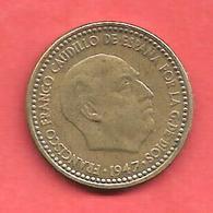 1 Peseta , ESPAGNE , Alu-Bronze , 1947 ( 52 ) , N° KM # 775 , N° Y113 - [ 4] 1939-1947 : Gouv. Nationaliste