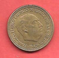 1 Peseta , ESPAGNE , Alu-Bronze , 1947 ( 54 ) , N° KM # 775 , N° Y113 - [ 4] 1939-1947 : Gouv. Nationaliste