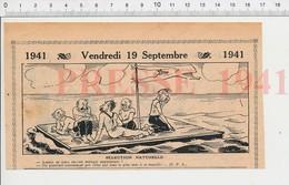 2 Scans 1941 Humour Jeu De Cartes Manille Radeau (genre De La Méduse) Naufrage Cannibalisme Généalogie Bécut  223XR - Vieux Papiers