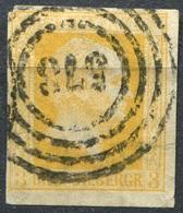 Preußen 3 Sgr Michel 8 Mit Nummernstempel 573 Halle, ECKE OBEN LINKS MIT EINKERBUNG (3-318) - Preussen