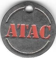 Jeton De Caddie  Argenté  Magasin  ATAC  Verso  Chariot - Jetons De Caddies