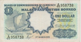 1 DOLLAR MALAYA ET BORNEO BRITANNIQUE 1959 - Malaysia