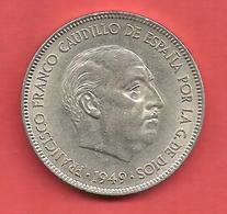 5 Pesetas , ESPAGNE , Nickel , 1949 ( 50 ) , N° KM # 778 , N° Y117 - 5 Pesetas