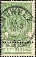 """COB   56 A (o) Oblitération """"Peruwelz"""" T1L - 1893-1907 Wappen"""