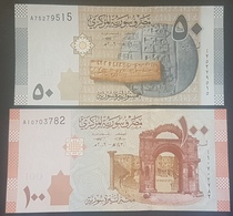 Syria 2009 UNC Banknotes, 50 Pounds & 100 Pounds - Syria