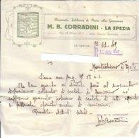 B2065 - FATTURA CARTA INTESTATA CORRADINI - LA SPEZIA - FABBRICA PESTO ALLA GENOVESE 1945 - Italia