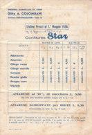 B2066 - LISTINO PREZZI CONFETTURE STAR 1938 - DITTA COLOMBANI - PORTOMAGGIORE - Pubblicitari