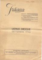 B2067 - LISTINO DROGHE 1936 - DITTA INDIANA - VENEZIA - STABILIMENTI PORTO MARGHERA/SPEZIE - Pubblicitari