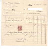 B2068 - FATTURA CARTA INTESTATA DITTA CESARE FANESI - ANCONA TAVERNELLE - COSTRUZIONI EDILIZIE - MARCA DA BOLLO 1937 - Italia