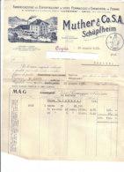 B2069 - FATTURA CARTA INTESTATA MUTHER & Co.S.A.SCHUPFHEIM - LUCERNA SVIZZERA - FORMAGGI EMMENTAL 1938 - Svizzera