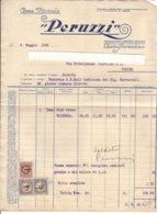 B2072 - FATTURA CARTA INTESTATA CASA VINICOLA PERUZZI - CASTELFIORENTINO - MARCHE DA BOLLO 1939/VINI - Italia