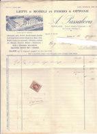 B2073 - FATTURA CARTA INTESTATA PASSALEVA - TORINO - LETTI E MOBILI  IN FERRO E OTTONE - MARCA DA BOLLO 1938 - Italia