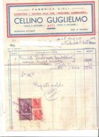 """B2076 - FATTURA CARTA INTESTATA CELLINO GUGLIELMO ASTI - FABBRICA CICLI """"NIZZARDA GARIBALDINA"""" BICICLETTE - IMPOSTE 1942 - Italia"""