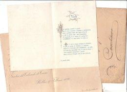 B2079 - BIGLIETTO PARTECIPAZIONI NOZZE BOBBIO 1896 - CARTONCINO RICEVIMENTO A CAMBIANO - TORINO - VERSI PIEMONTESE - Annunci Di Nozze