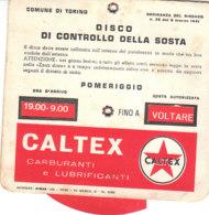 B2084 - DISCO ORARIO PUBBLICITA' CALTEX CARBURANTI E LUBRIFICANTI Anni '60 - Pubblicitari