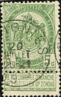 """COB   56 A (o) Oblitération """"Soignies"""" T1L - 1893-1907 Wappen"""