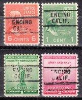 USA Precancel Vorausentwertung Preo, Locals California, Encino 729, 4 Diff. - Préoblitérés
