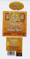 """Étiquette, Contre étiquette Et Collerette De Bière """" Abbaye De Vauclair TRIPLE """"  (2894)_eb134 - Bière"""