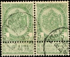 """COB   56 B (o) Oblitération """"Andenne"""" T1L  En Paire - 1893-1907 Wappen"""