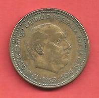 2,50 Pesetas , ESPAGNE , Alu-Bronze , 1953 ( 56 ) , N° KM # 785 , N° Y114 - [ 5] 1949-… : Royaume