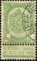 """COB   56 B (o) Oblitération """"Liège (Guillemins)"""" T1L  Partiel - 1893-1907 Wappen"""