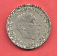 5 Pesetas , ESPAGNE , Cupro-Nickel , 1957 ( 59 ) , N° KM # 786 , N° Y118 - [ 5] 1949-… : Royaume