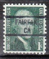 USA Precancel Vorausentwertung Preo, Locals California, Fairfax 841 - Préoblitérés
