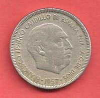 5 Pesetas , ESPAGNE , Cupro-Nickel , 1957 ( 61 ) , N° KM # 786 , N° Y118 - 5 Pesetas