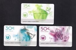 3  Carte Cadeau SUPER U  BREST KEREDERN (29).    Gift Card. Geschenkkarte - Cartes Cadeaux