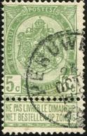 """COB   56 B (o) Oblitération """"Peruwelz"""" T1L - 1893-1907 Wappen"""