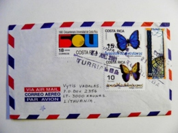 Cover Sent From Costa Rica 2001 Animals Insects Butterflies Papillons UPU Postal Universal Post - Costa Rica