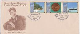 MAJURO MARSHALL ISLANDS ROBERT LOUIS STEVENSON WRITER FDC ISSUE COVER ENVELOPPE PREMIER JOUR 1988 - Marshall