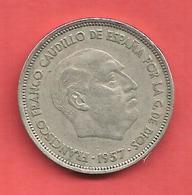 25 Pesetas , ESPAGNE , Cupro-Nickel , 1957 ( 58 ) , N° KM # 787 , N° Y119 - 25 Pesetas