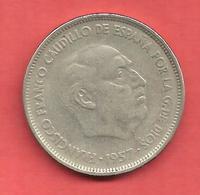 25 Pesetas , ESPAGNE , Cupro-Nickel , 1957 ( 59 ) , N° KM # 787 , N° Y119 - 25 Pesetas