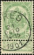 """COB   56 B (o) Oblitération """"Ypres"""" T1L  Partiel - 1893-1907 Wappen"""