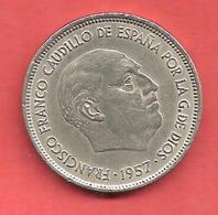 25 Pesetas , ESPAGNE , Cupro-Nickel , 1957 ( 71 ) , N° KM # 787 , N° Y119 - [ 5] 1949-… : Royaume