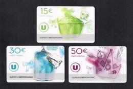 3  Carte Cadeau SUPER U  MERDRIGNAC (22).    Gift Card. Geschenkkarte - Cartes Cadeaux