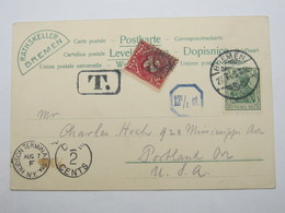 1909 , Bremen ,  Klarer Stempel Auf   Karte Mit Nachporto USA - Deutschland
