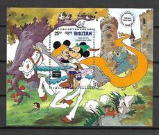 Disney Bhutan 1986 AMERIPEX - May All Live Happly Ever After MS MNH - Disney