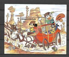 Disney Antigua & Barbuda 1985 Slagecoach On The Kansas Plains MS MNH - Disney