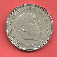25 Pesetas , ESPAGNE , Cupro-Nickel , 1957 ( 64 ) , N° KM # 787 , N° Y119 - [ 5] 1949-… : Royaume