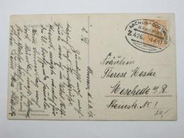 1917 , AACHEN - DORTMUND  , Bahnpost ,  Klarer Stempel Auf   Karte - Deutschland