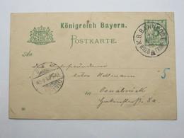 1900 , WRZB - FRNKF    IV  , Bahnpost ,  Klarer Stempel Auf   Karte - Bayern