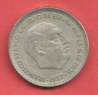 50 Pesetas , ESPAGNE , Cupro-Nickel , 1957 ( 59 ) , N° KM # 788 , N° Y120 - 50 Pesetas