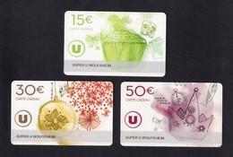 3  Carte Cadeau SUPER U  WOLFISHEIM (67).    Gift Card. Geschenkkarte - Cartes Cadeaux
