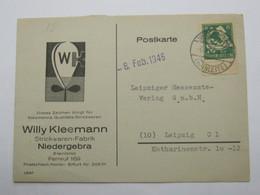 1946 , NIEDERGEBRA   Klarer Stempel Auf   Firmenkarte - Sowjetische Zone (SBZ)